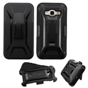 Insten Hard Dual Layer Plastic Silicone Case w/Holster For Samsung Galaxy Amp Prime / J3 (2016) - Black