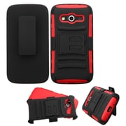 Insten Hard Hybrid Rugged Shockproof Plastic Silicone Cover Case w/Holster For Samsung Galaxy Avant - Black/Red