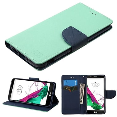 Insten Folio Leather Fabric Case w/stand/card slot For LG G5 - Green/Blue