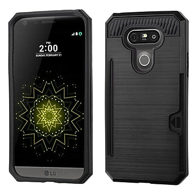 Insten Hard Hybrid Rubber Silicone Cover Case With Card Slot For LG G5, Black (2211327)