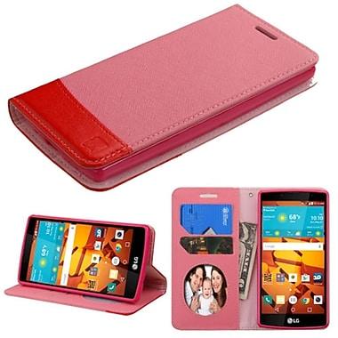 Insten ? Étui en cuir à rabat-support avec porte-carte/pochette photo pour LG Magna/Volt 2, rose/rouge (2162954)