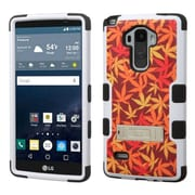Insten Tuff Japanese Maple Hard Dual Layer Rubber Silicone Cover Case w/stand For LG G Stylo - Orange/Black
