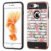 Insten Fresh Roses Hard Dual Layer Rubber Coated Silicone Case For Apple iPhone 7 Plus - Pink/White
