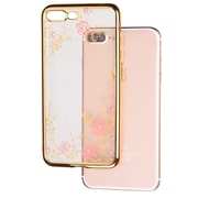 Insten Secret Garden Flower Butterfly Diamante TPU Soft Rubber Case For iPhone 7 Plus - Gold Plating