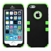 Insten Tuff Hybrid Rubberized Phone Protector Cover for iPhone 5/5S/SE, Black/Neon Green (1551835)