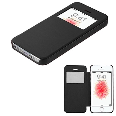 Insten Book-Style Leather Fabric Case For Apple iPhone SE / 5 / 5S - Black