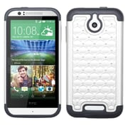 Insten Hard Hybrid Rugged Shockproof Rubber Silicone Cover Case w/Diamond For HTC Desire 510 - White/Black