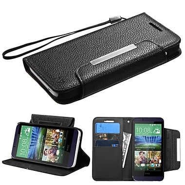 Insten Folio Leather Fabric Case Lanyard With Stand/Card Slot For HTC Desire 510, Black (2045992)
