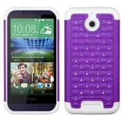 Insten Purple/Solid White FullStar Hybrid Hard Shockproof Silicone Dual Layer Protective Back Case For HTC Desire 510