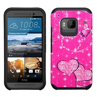 Insten Butterfly Glittering Hard Hybrid Shockproof Rubber Coated Silicone Case For HTC One M9 - Hot Pink/Black