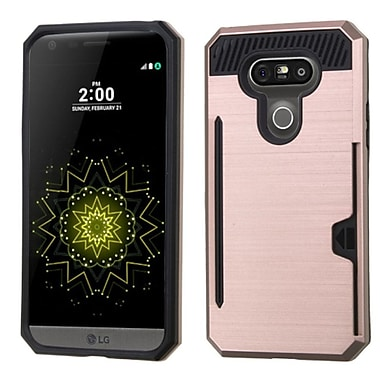 Insten Hard Dual Layer Hybrid Case With Card Slot Holder For LG G5, Rose Gold/Black (2211329)