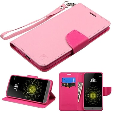 Insten Book-Style Leather Fabric Case Lanyard w/stand/card holder For LG G5 - Pink