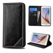 Insten Book-Style Leather Fabric Case w/stand/card slot For Samsung Galaxy S6 - Black