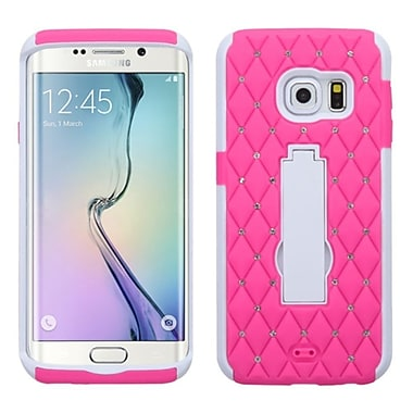 Insten Symbiosis Skin Dual Layer Rubber Hard Case w/stand/Diamond For Samsung Galaxy S6 Edge - Hot Pink/White