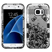 Insten Tuff Lace Flowers Hard Dual Layer Case For Samsung Galaxy S7 - Black