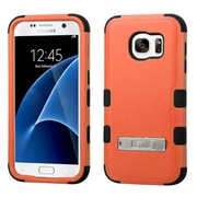 Insten Hard Hybrid Rubber Coated Silicone Cover Case w/stand For Samsung Galaxy S7 - Orange/Black