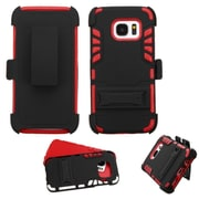 Insten Hard Hybrid Rubber Silicone Cover Case w/stand/Holster For Samsung Galaxy S7 - Black/Red