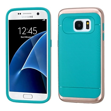 Insten Hard Dual Layer Silicone Cover Case For Samsung Galaxy S7, Teal/Rose Gold (2235415)