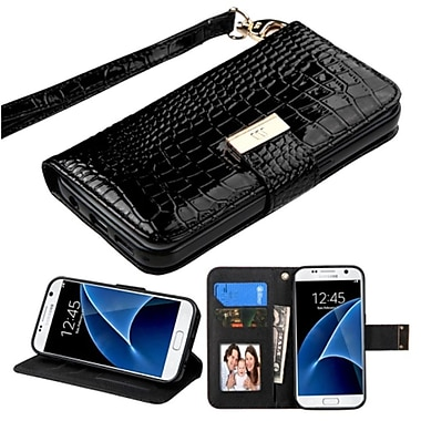 Insten Book-Style Leather Crocodile Skin Case Lanyard w/stand/card slot/Photo Display For Samsung Galaxy S7 - Black