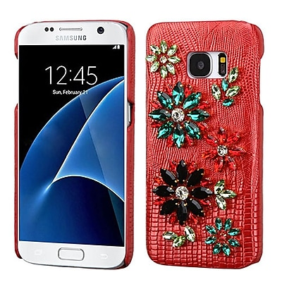 Insten Flowers Leather 3D Fabric Hard Case w/Diamond For Samsung Galaxy S7 - Red