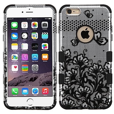 Insten Tuff Lace Flowers Hard Dual Layer Rubberized Silicone Cover Case For Apple iPhone 6 Plus - Black/White