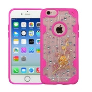 Insten Wintersweet Hard 3D Crystal Case w/Diamond For Apple iPhone 6/6s - Clear/Hot Pink