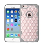 Insten Honeycomb Hard Rubber Silicone Case For Apple iPhone 6/6s - Clear/Gray