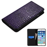 Insten Book-Style Leather Crocodile Skin Cover Case w/card slot For Apple iPhone 6 / 6s - Purple