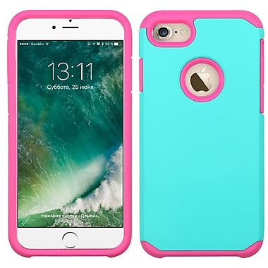 Insten Hard Hybrid Rubber Coated Silicone Case For Apple iPhone 7/ 8, Teal/Pink (2271073)