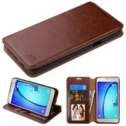 Insten Book-Style Leather Fabric Case w/stand/card slot For Samsung Galaxy On5 - Brown