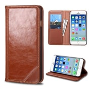 Insten Book-Style Leather Fabric Cover Case w/stand/card slot For Apple iPhone 6 - Brown