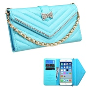 Insten Book-Style Leather Fabric Cover Case Chain w/card slot/Diamond For Apple iPhone 6 - Blue
