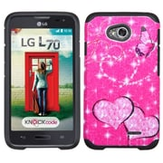 Insten Butterfly/Heart Armor Hard Cover Case For LG Optimus Exceed 2 VS450PP Verizon/Optimus L70 /Realm - Hot Pink