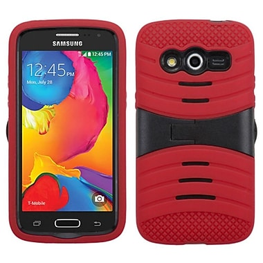 Insten Wave Symbiosis Rubber Hybrid Hard Shockproof Cover Case with Stand For Samsung Galaxy Avant - Red/Black