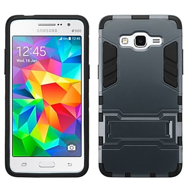 Insten Hard Hybrid Rubber Silicone Cover Case with Stand For Samsung Galaxy Grand Prime - Blue/Black