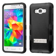 Insten Hard Hybrid Silicone Case w/stand For Samsung Galaxy Grand Prime - Black