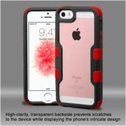 Insten Hard Hybrid Clear Crystal Silicone Bumper For Apple iPhone SE / 5/ 5S - Black/Red
