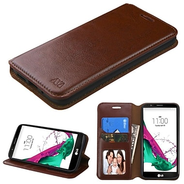 Insten Flip Leather Fabric Case With Stand/Card Holder/Photo Display For LG G5, Brown (2238741)