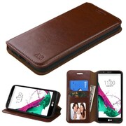 Insten Flip Leather Fabric Case w/stand/card holder/Photo Display For LG G5 - Brown