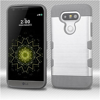 Insten TUFF Trooper Brushed Hybrid Soft Hard TPU Case For LG G5 - Silver/Gray