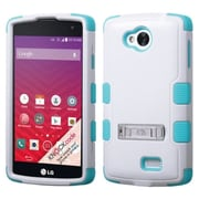 Insten White/Blue Dual Layer Hybrid Stand Hard PC/Silicone Case Cover For LG Optimus F60 LG Tribute LS660
