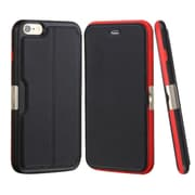 Insten Flip Genuine Leather Fabric Cover Case w/card slot For Apple iPhone 6 Plus/6s Plus - Black/Red