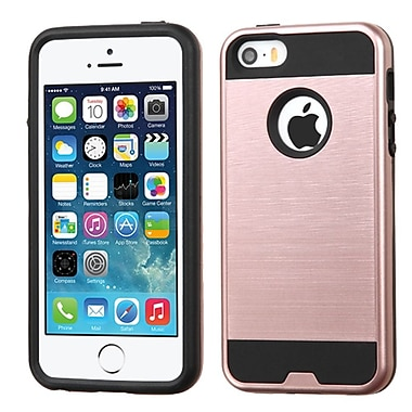 Insten Hard Hybrid Silicone Cover Case For Apple iPhone 5/5S/SE, Rose Gold/Black (2212073)