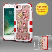Insten Ivory White Frame+Transparent Painted Flowers PC Back/Red TUFF Vivid Hybrid Case Cover for Apple iPhone 7