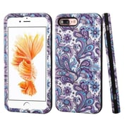 Insten European Flowers Hard Hybrid 3-Layer Case For Apple iPhone 7 Plus - Purple/White