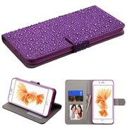 Insten Leather Diamond Wallet Case with ID Card & Photo slot For iPhone 7 Plus - Purple