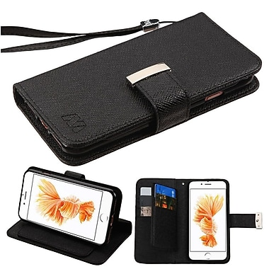 Insten Flip Leather Wallet Case with Lanyard & 6 Card slots For iPhone 7 Plus - Black