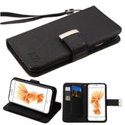 Insten Flip Leather Wallet Case with Lanyard & 6 Card slots For iPhone 7 Plus/ 8 Plus, Black