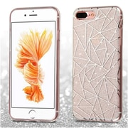 Insten Geometry Rubber Soft TPU Skin Cover Case For iPhone 7 Plus - White/Silver