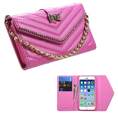 Insten Folio Leather Fabric Case Bracelet w/card holder For Apple iPhone 6 / 6s - Hot Pink